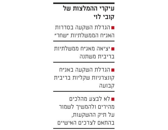 עיקרי ההמלצות של קובי לוי